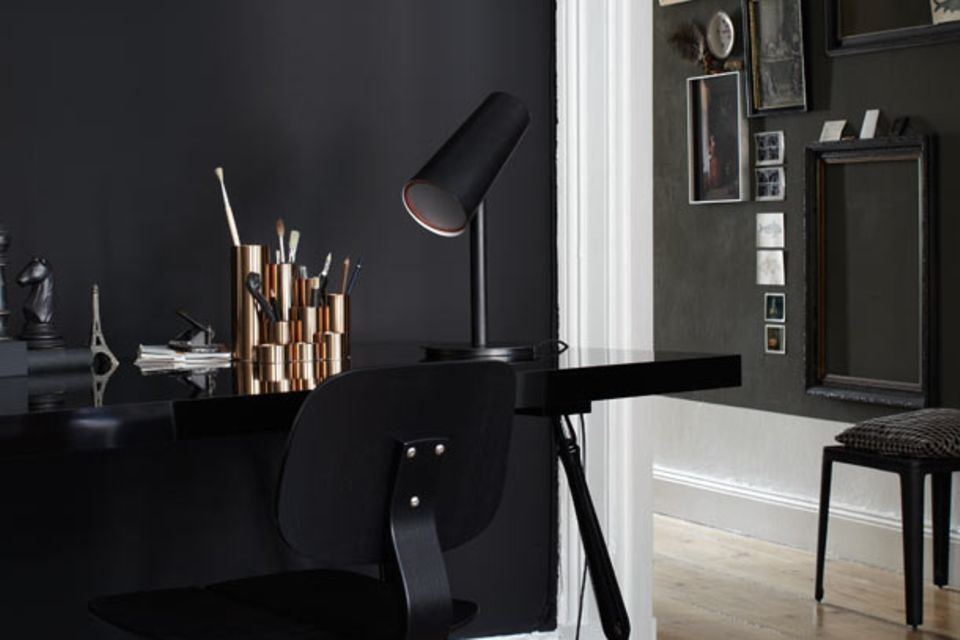 Edel: Schwarz kombiniert mit glänzendem Metall