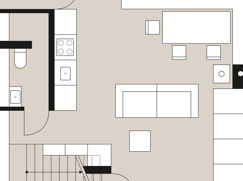 Planmaterial: Ferienhaus mit bodentiefen Fenstern