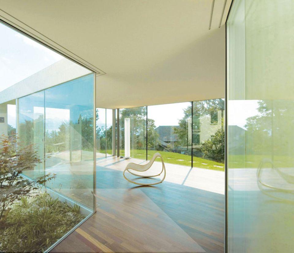Rahmenlose Fenster zum Schieben