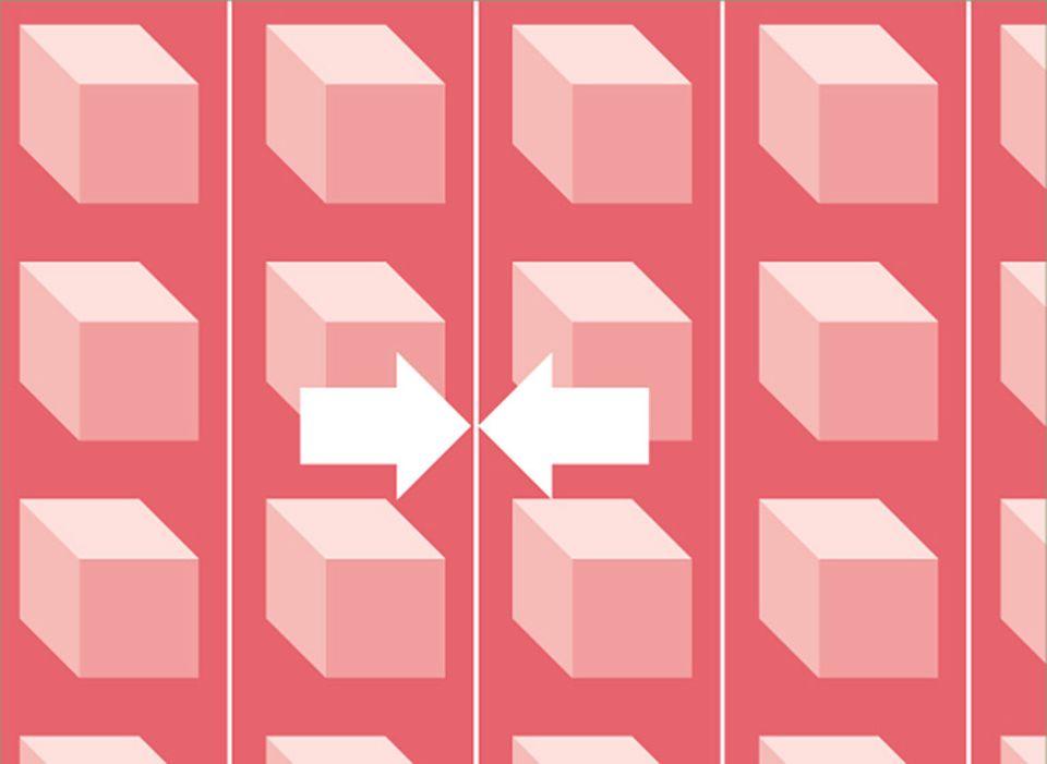 Gerader Ansatz: Alle Bahnen sehen gleich aus. Beim Zuschneiden wird Muster auf Muster gelegt. Dabei fällt nur ein sehr geringer Verschnitt an.