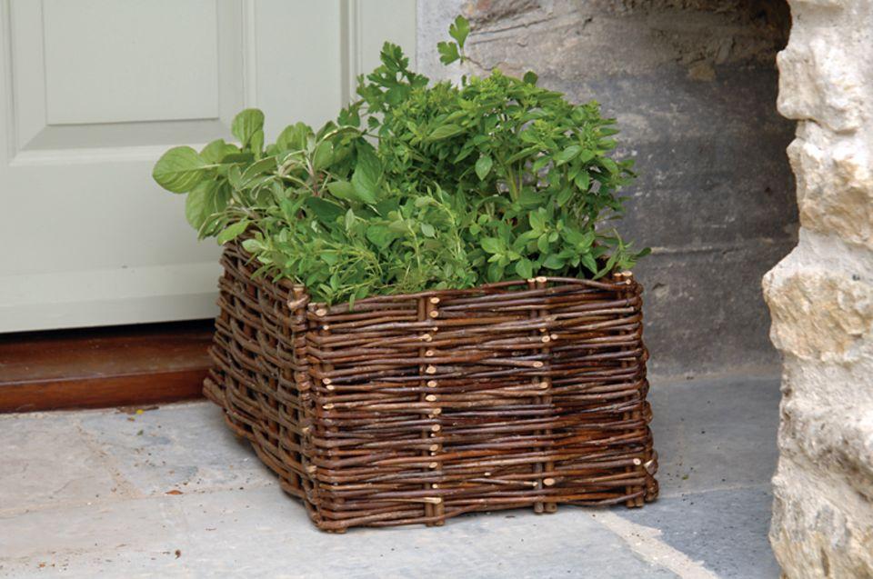 Die Weiden-Pflanzbox von Burgon & Ball ist ideal für das Gärtnern auf dem Balkon. Kräuter wie Basilikum, Petersilie und Co sind gut darin aufgehoben, weil ihre Erde im Korb durch die Beschattung nicht so schnell abtrocknet.