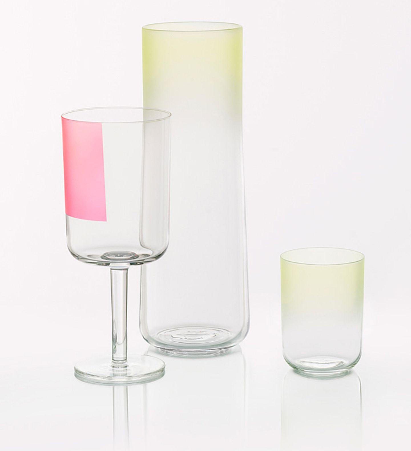 """Buntglas: Karaffen und Gläser """"Colour Glass"""" von Hay"""