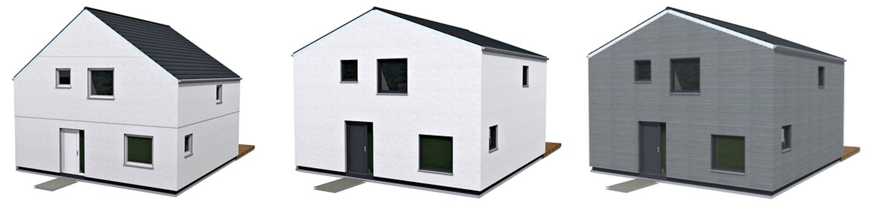 """Das SCHÖNER WOHNEN-Haus in seinen drei Ausführungen """"Mono eins"""", """"Mono zwei"""" und """"Mono drei""""."""