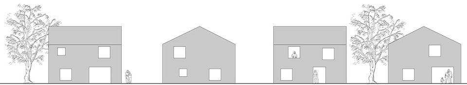 Fünf unterschiedlich große Öffnungen (drei Fenster, eine Terrassen- und eine Haustür) gestalten den Baukörper je nach Bedarf.