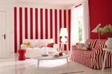 Zimmer in Weiß und Rot