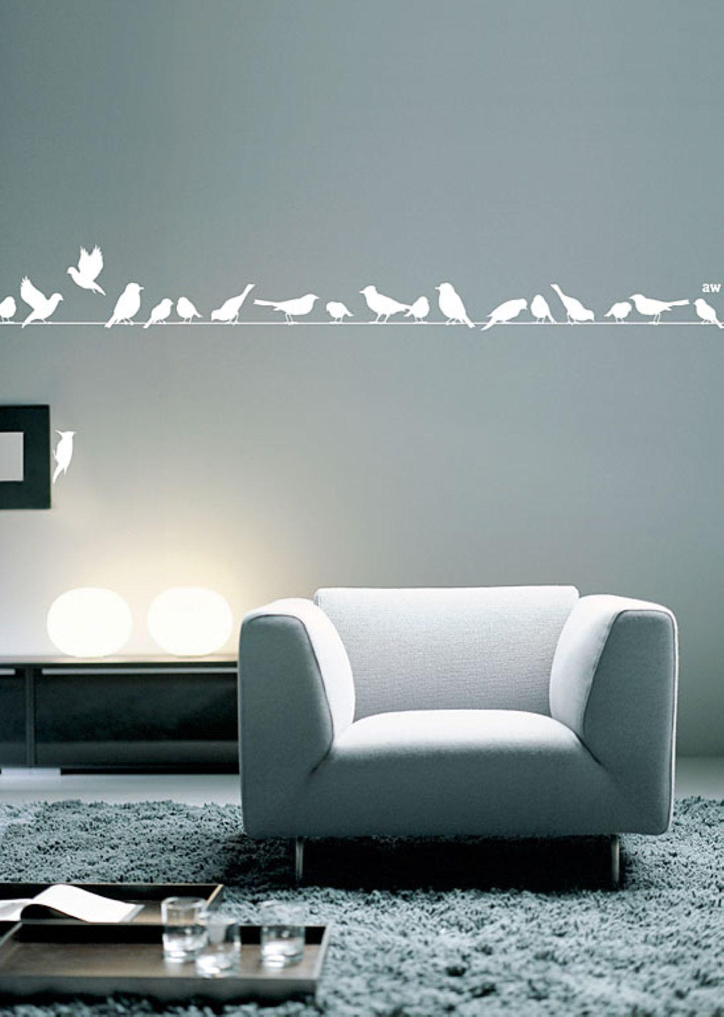 """Vögel auf der Leine als Wandtattoo: """"Singstars L"""" von Anna Wand"""
