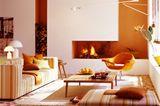 """Warme aber frische Töne fürs Wohnzimmer: SCHÖNER WOHNEN-Trendfarbe """"Mango"""""""