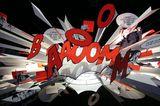 """""""Explodierende"""" Comic-Leuchte im Showroom von Ingo Maurer"""