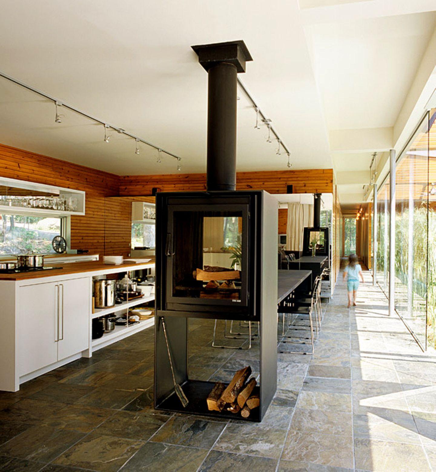 Kamin-Flair in der Küche