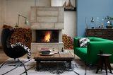 Kontrast: Vintage-Möbel und Farben