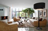 Landhaus-Lounge-Sitzgruppe aus Rattan