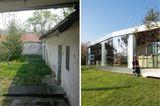 Vorher-Nachher: alter Hof mit Bungalow erweitert