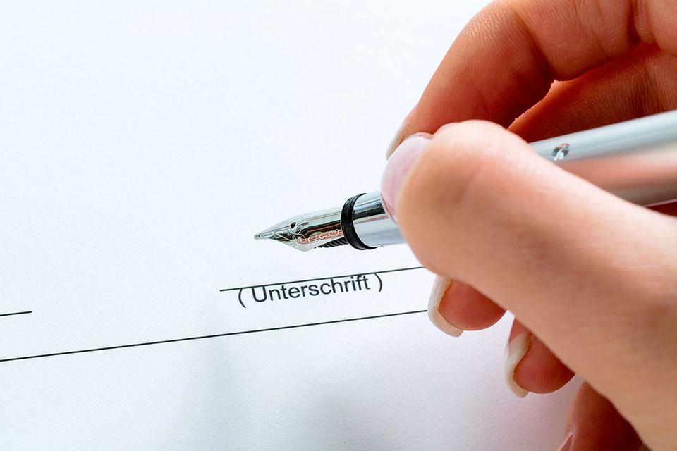 Kaufvertrag mit Unterschrift