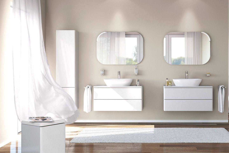 Badezimmer in Weiß und Beige