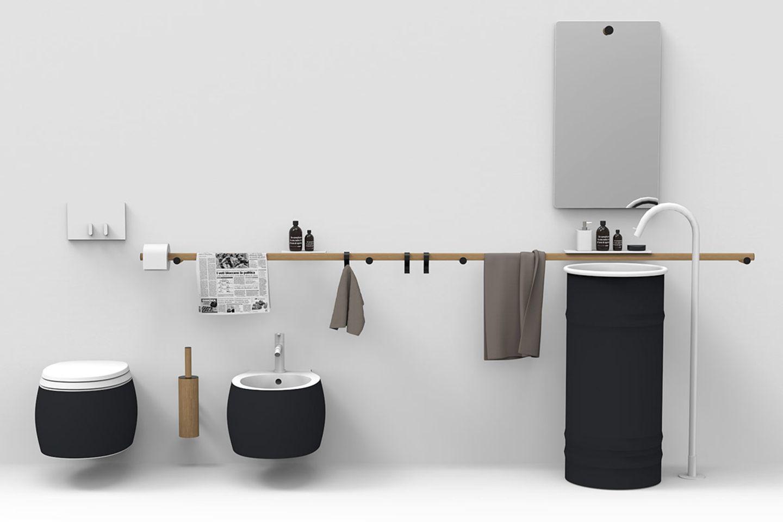 Bad in Grau, Weiß und Holztönen