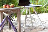 """Stuhl """"Eddi"""" von Formsitz Design mit einem Untergestell aus einem alten Fahrradrahmen"""