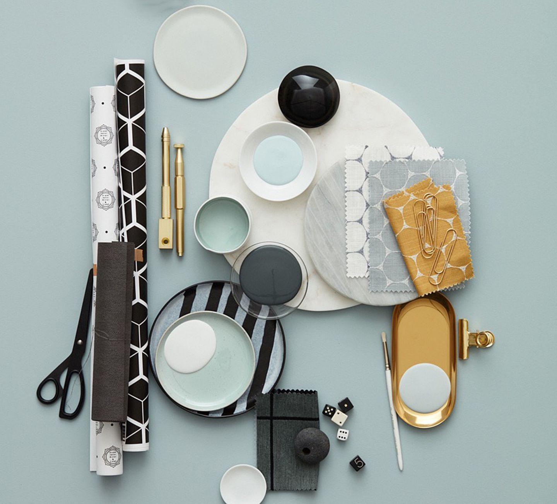 Farben kombinieren - Mint, Messing und Grautöne