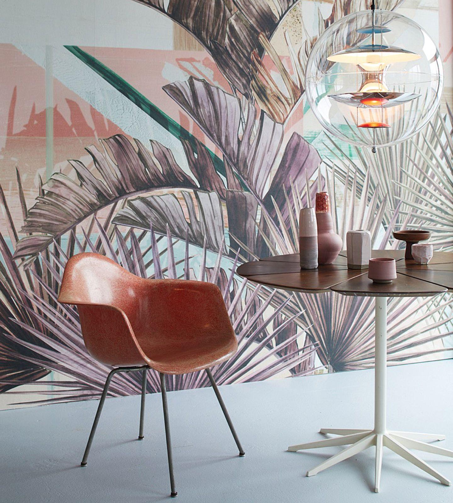 Tapete mit großformatigem Palmenmotiv