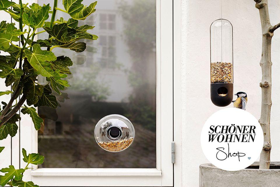 SCHÖNER WOHNEN-Shop-Teaser für Garten und Balkon – Vogelhaus mit Button