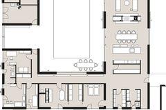 Reduzierter Neubau mit grünem Innenhof: Grundriss