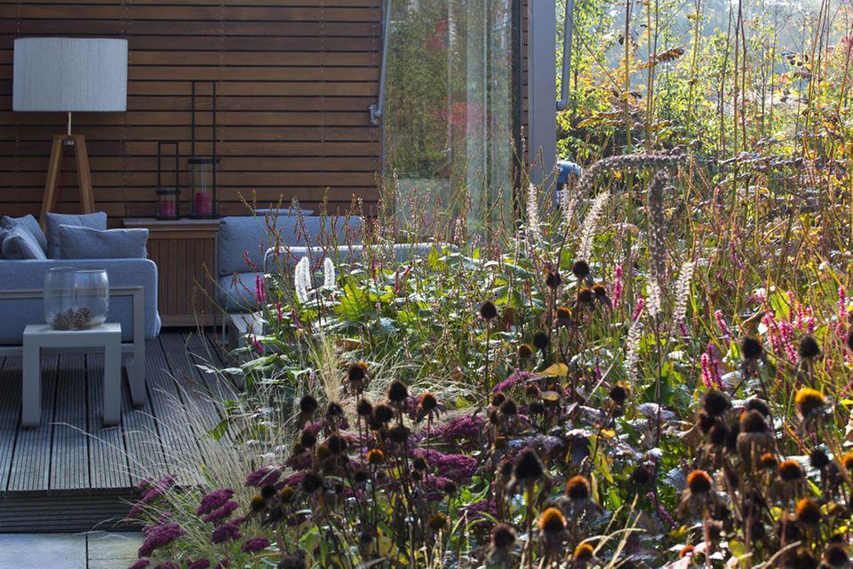 Den Wohnraum bis auf die Terrasse verlängert