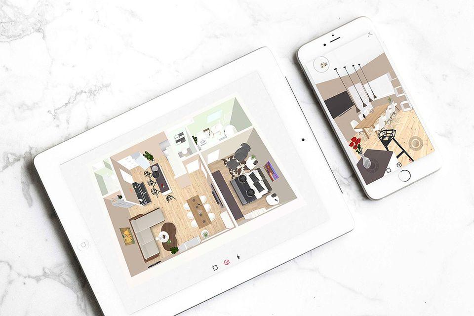 iPad und Smartphone mit dem 3D-Raumplaner von Roomle