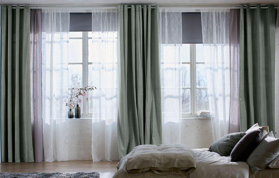 Vorhang in Weiß und Grün von Ikea