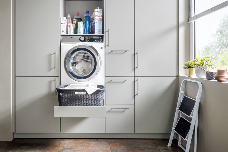 Unterbringung der Waschmaschine im Hauswirtschaftsraum