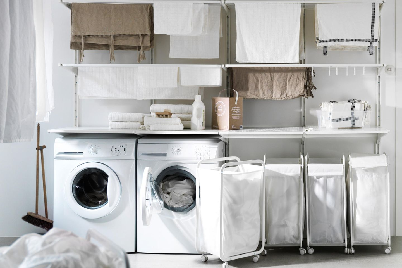 """Flexible Aufbewahrung mit """"Algot"""" von Ikea im Hauswirtschaftsraum"""