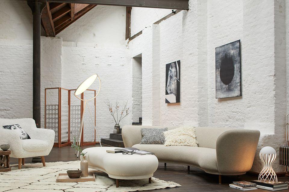 Wohnen in weiß - Wohnzimmer in weiß, creme und Holz