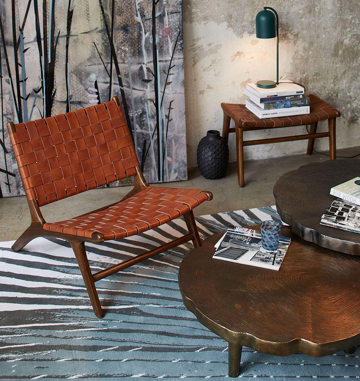 Sessel aus Ledergeflecht von Gong