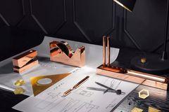 Cube: Büroaccessoires mit Kupferbeschichtung von Tom Dixon