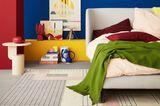 Schlafzimmer in Blau, Rot, Beige, Gelb und Grün
