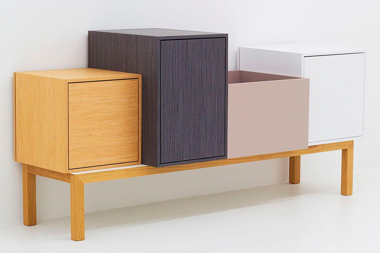 Sideboard in Holz, Weiß, Rosa und Grau von Cubit