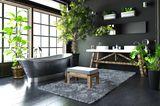 Schwarzes Badezimmer mit Pflanzen