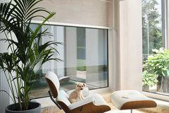"""Rollo """"Papyrus"""" von Jab Anstoetz an einem großen, bodentiefen Fenster"""