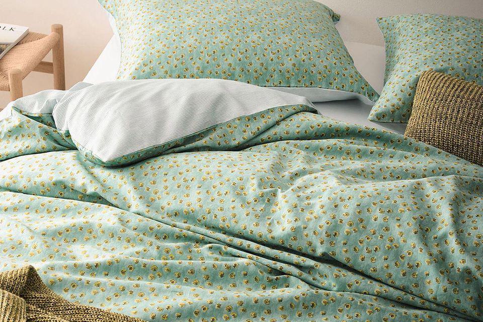 """Bettwäsche """"Flori"""" in Soft Green aus Baumwollsatin von Marc O'Polo"""