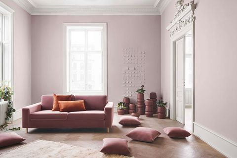 "Sofa ""Scandinavia"" und Kissen in Mauve von Bolia"