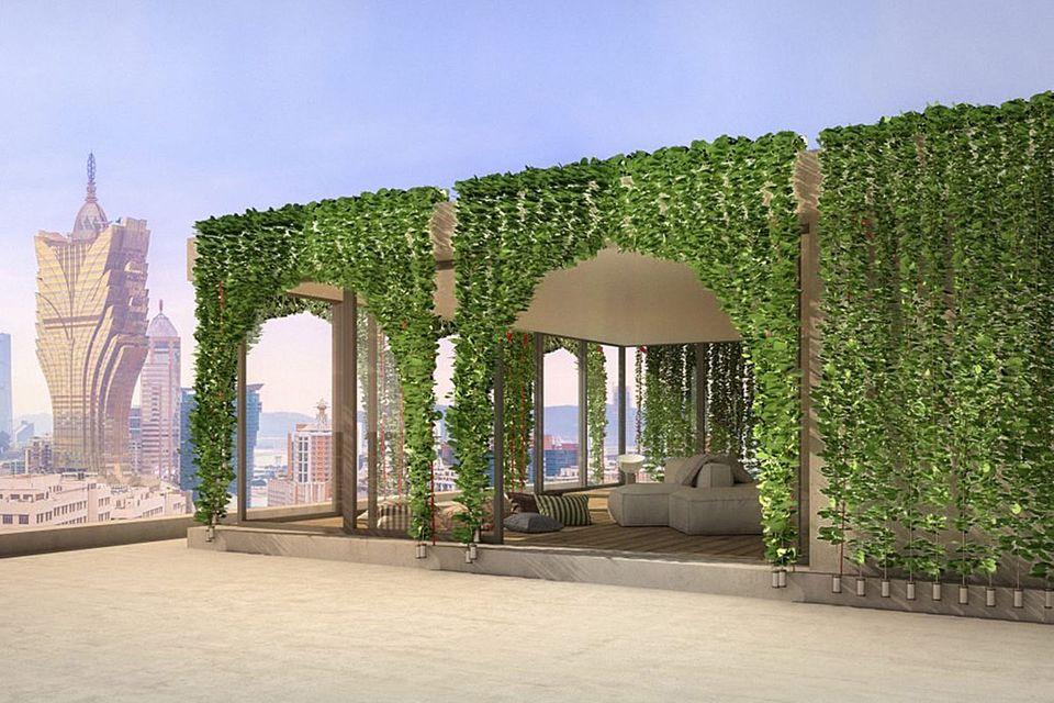 """Die Pflanzenvorhänge """"Bio Blinds"""" von The green Skyline Innitiative - hier visualisiert als Begrünung eines loftartigen Gebäudes auf einer Dachterrasse."""