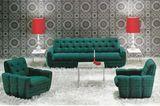 Wohnzimmer mit grünen Polstermöbeln von Bretz zu Beginn der 1970er Jahre