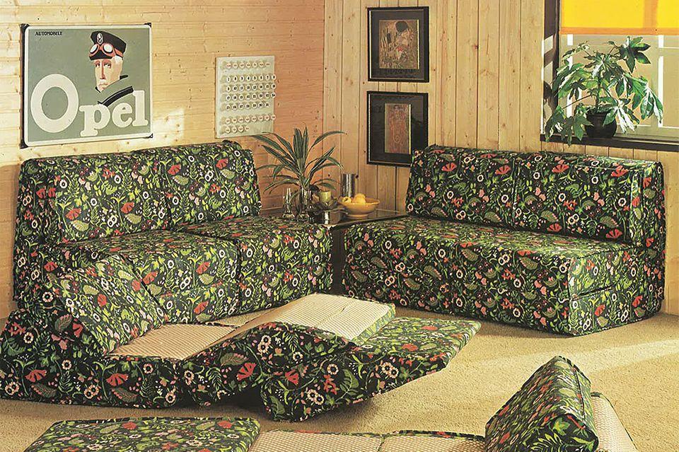 Geblümtes Sofa von Bretz im Jahr 1977