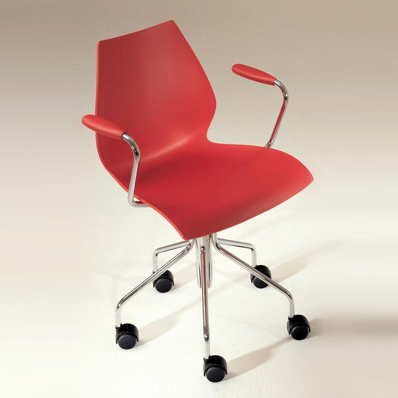 Roter Schreibtischstuhl von Kartell