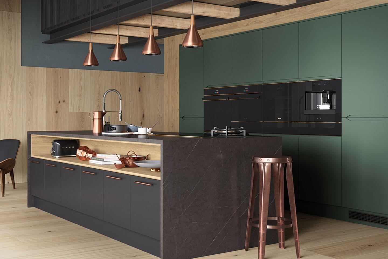 """""""Dolce Stil Novo"""": Schwarze Küche mit Schwarzglas, Kupfer und Edelstahl von SMEG"""