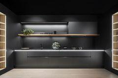"""Schwarze Küche mit der Oberfläche """"Classic FS"""" in Mattlack von Leicht"""