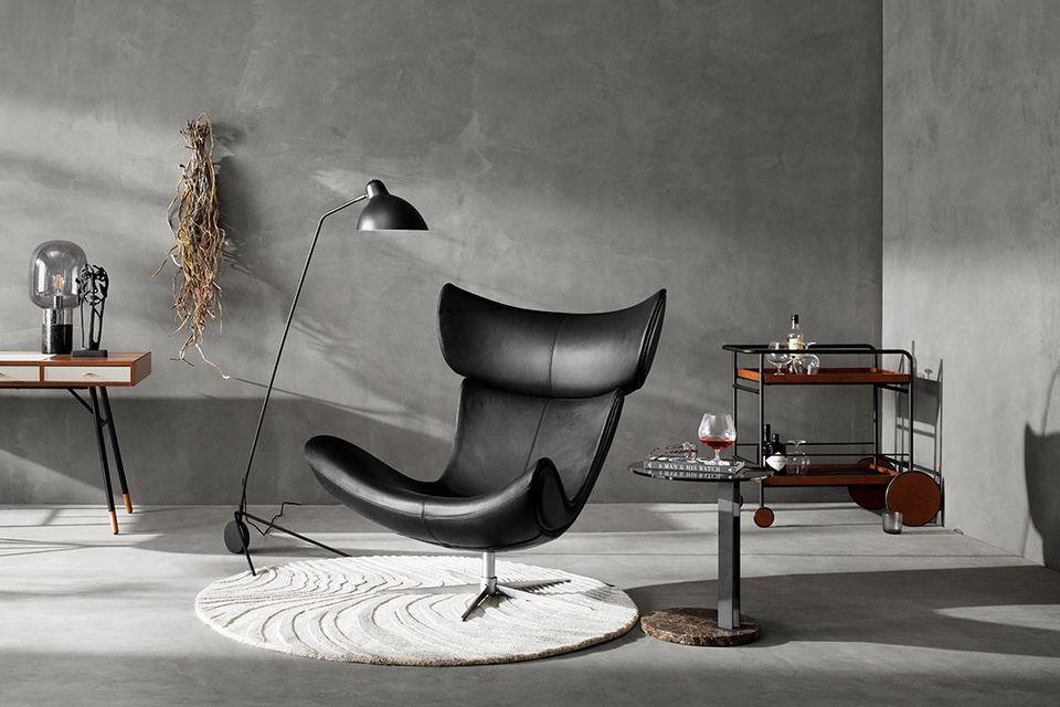 "Sessel ""Imola"" von BoConcept in schwarzem Leder."