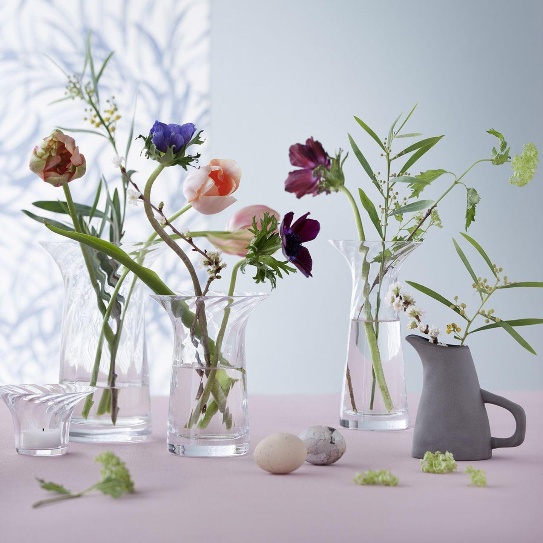 Vereinzelte Blumen in verschiedenen Vasen von Rosendahl aus Klarglas