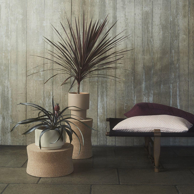 Podeste aus Kork für Pflanzen neben einem Daybed