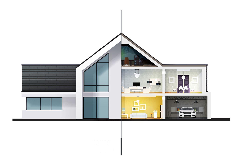 Illustration und Querschnitt eines Einfamilienhauses.