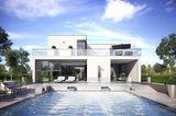 Fertighaus-Villa von Fertighaus Weiss mit Pool