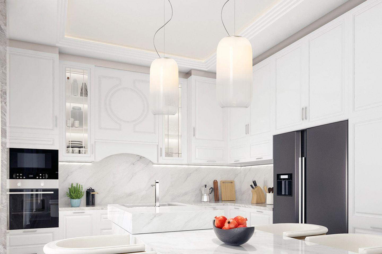 """Pendelleuchte """"Gople"""" von Artemide in einer weißen Küche"""